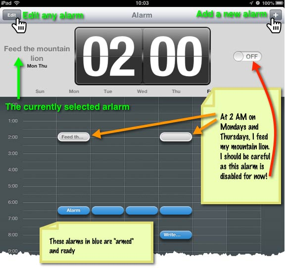 The Alarms module displays a timeline showing the placement of your alarms.