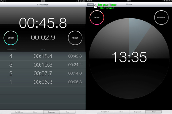 The Stopwatch and Timer modules side-by-side.
