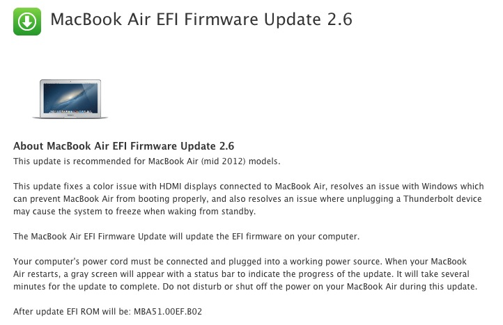 2012 MacBook Air EFI Update