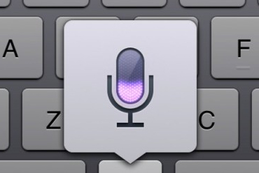 A close-up look at the Dictation Microphone icon that appears over the keyboard.