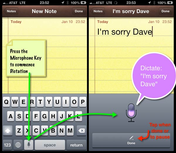 Two instances of using the dictation key in the Notes app, and the microphone pane accepting speech input.