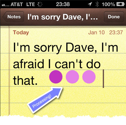 The animated sequence of purple dots appears when the Apple servers are processing the speech-to-text and the device is waiting for the text to be transmitted back.