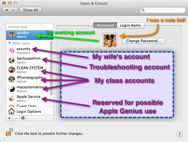 The Users & Groups System Settings panel showing a number of User Accounts set up as described in the article.