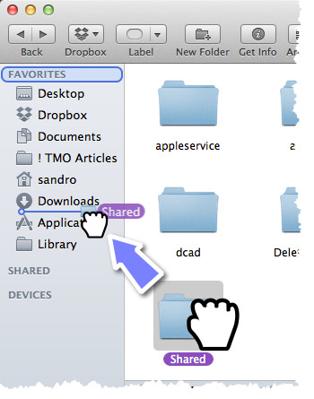 A Finder window and an illustration of dragging the Shared Folder into the sidebar area.