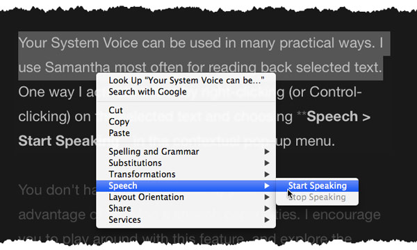 Selected text in a word processor with a contextual menu showing the Start Speaking command.