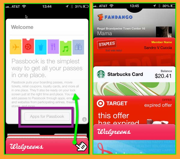 The new Passbook Welcome screen, and a view of Passbook on the author's iPhone.