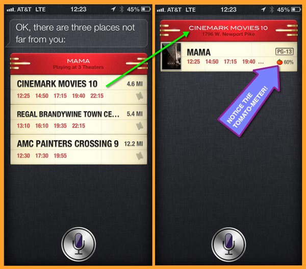 Siri first presents all the local theaters playing the preferred movie, then shows the closest theater.