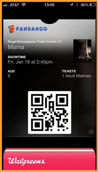 The Passbook screen showing the movie ticket purchased from Fandango.