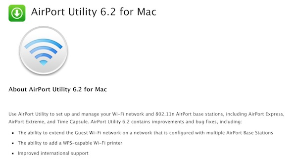 AirPort Utility 6.2 Update OS X
