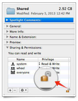 The lock is highlighted in the Sharing & Permissions section.