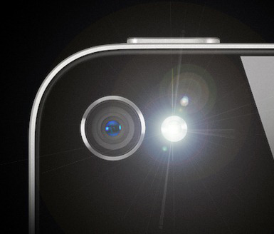 A closeup of the iPhone LED flash.