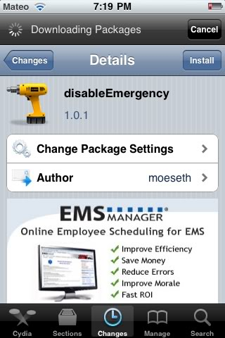 disableEmergency removes the Emergency Call button from locked iPhone screens