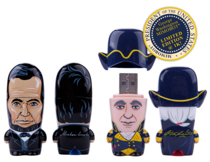 Washington & Lincoln Immortalized as Mimobot Flash Drives