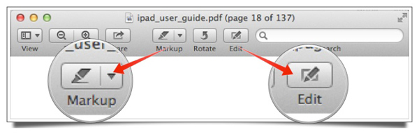The default toolbar in Preview, highlighting two buttons: Markup and Edit.