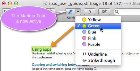 The markup selection pop-up menu appears when clicking on the Markup Tool in Preview's toolbar.