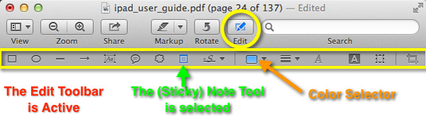 Clicking on the Edit button in the toolbar, or via the View menu, will activate the Edit Toolbar which provides a number of additional annotation tools.