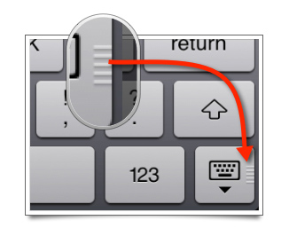 "The Keyboard Key is enlarged to highlight the little ""grip"" symbol, indicating that the key can be dragged on screen."