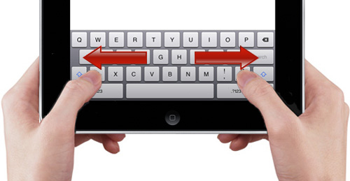 Sliding your thumbs outward or inward on the keyboard will cause the keyboard to split or merge.