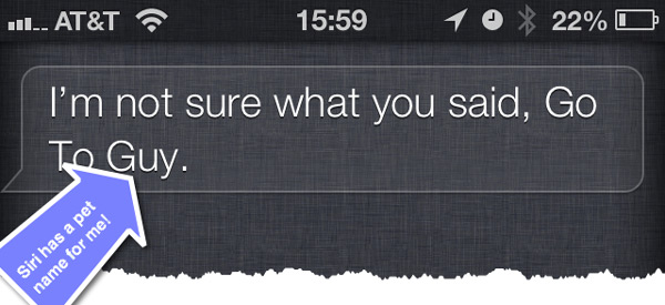 A screenshot of Siri saying she doesn't understand after the user inputs an unrecognized name.