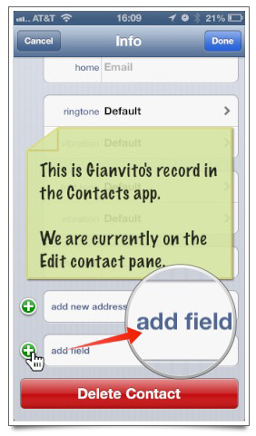 The Edit Contact pane is where additional fields can be added to a record.