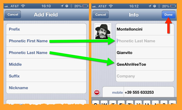 Two Edit Contact panes are shown side-by-side. These are where the fields with phonetic spelling are configured.