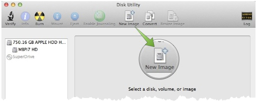 The main Disk Utility Window highlighting the New Image icon in the toolbar at the top.