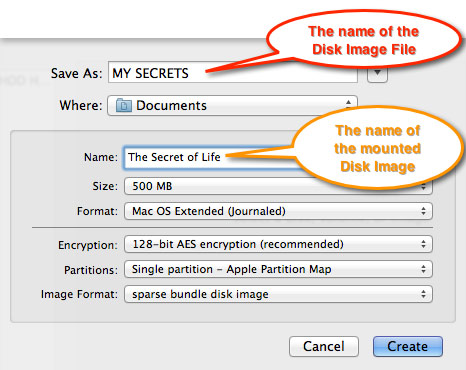 The SAVE panel in Disk Utility, highlighting the naming of the Disk Image file and the Disk Image.