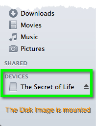 The portion of a Finder window's sidebar showing that a Disk Image is mounted.