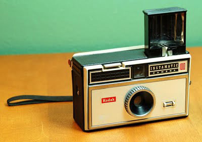 An antique Kodak Instamatic film camera.