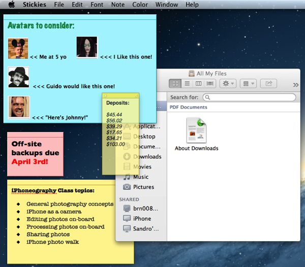 A Mac desktop with several multi-colored sticky notes generated by the Stickies application.