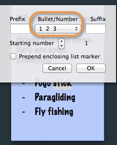 A popup list allows you to set parameters for lists in sticky notes.