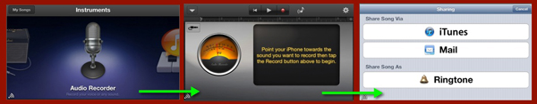 Three screens from GarageBand on iPhone where you can create ringtones.