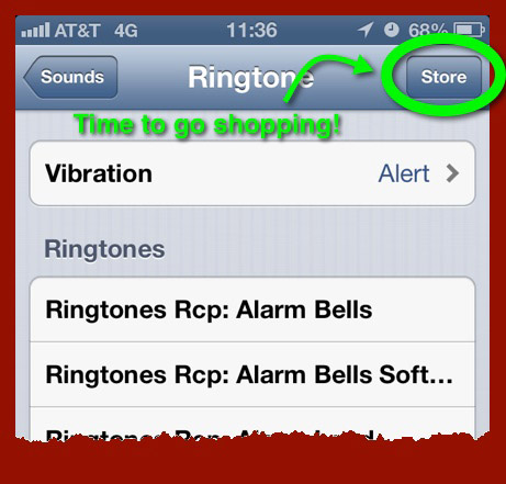 The list of Ringtones from the Sounds Settings panel – highlighting the