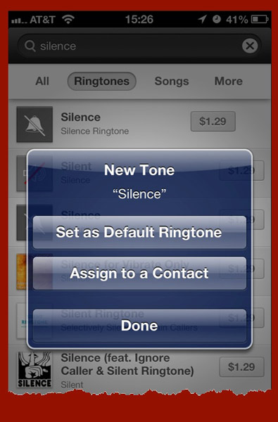 A dialog box asks if you want the purchased ringtone set as the default ringtone or assigned to a specific contact.