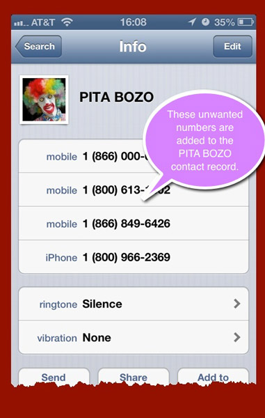 A Contacts record that acts as the aggregator for all incoming phone numbers I want to silence. The ringtone for all these numbers is set to the silence ringtone and vibration is set to none.