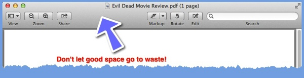 The default Preview document window. This highlights the relatively empty toolbar.