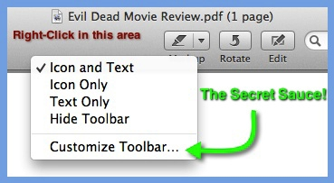 Right-clicking on the gray toolbar area produces a pop-up menu with the option to Customize Toolbar.