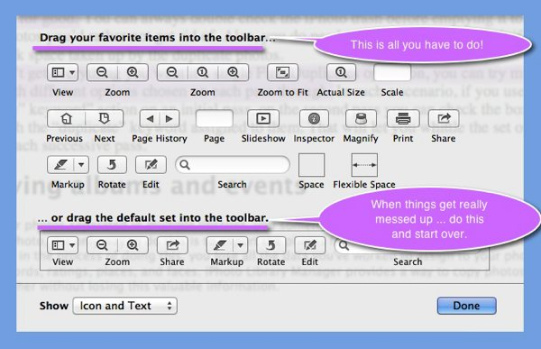 The Toolbar Customization window in Preview.