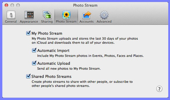 iPhoto's Preferences panel and the Photo Stream pane.