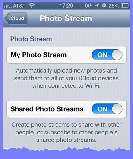The Photo Stream pane in the iCloud Settings panel in iOS.