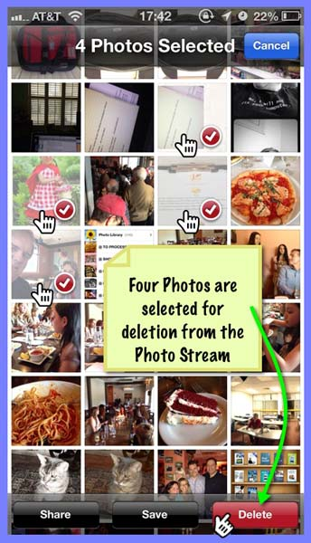 A page of Photo Stream Album photo thumbnails on the iPhone. Four photos are selected by tapping on them, then tapping the red Delete button.