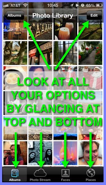 An iPhone Photos app screen showing thumbnails in the Photo Library and calling attention to options and buttons at the top and bottom.