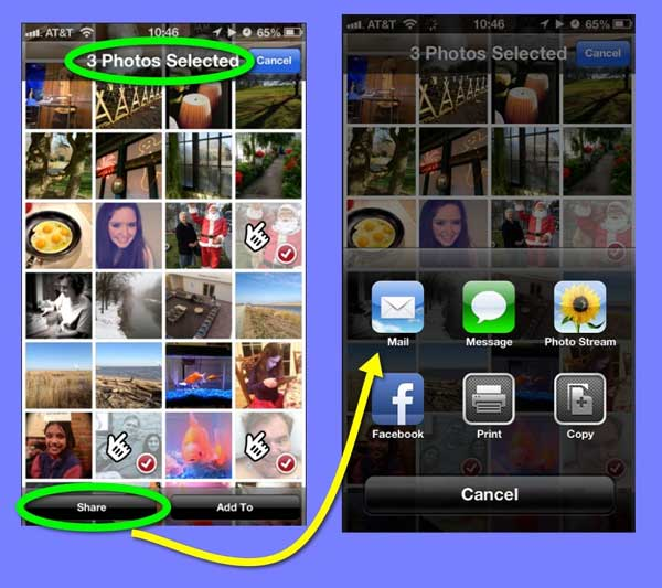 Two iPhone screens. The first one shows a page of thumbnails with three selected. Tapping on the Share button leads to the sharing options shown on the second screen.