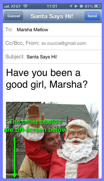 An email in the Mail app with photos attached (only the first one can be seen in the illustration).