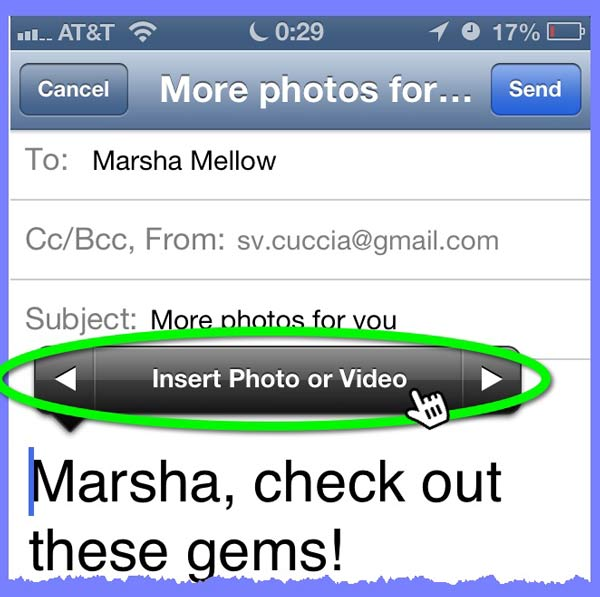 When tap-and-holding within the body of an email, a pop-up menu of options appears. One of the options available is to insert a photo or video.