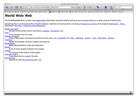 The First Web page, on the Web's 20th Birthday