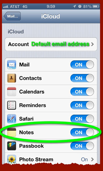 The iCloud Settings pane in iOS for iPhone.