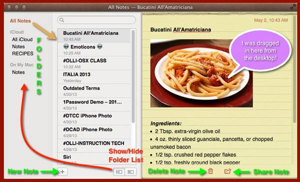 Details of an open Notes window in OS X.