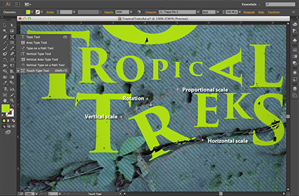 Illustrator CC treats text as individual objects