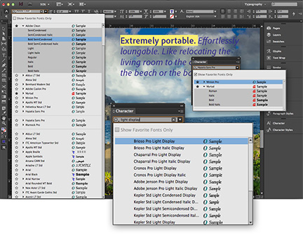 InDesign CC's enhanced font menus